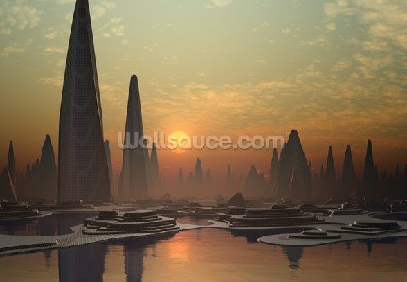 Futuristic Alien City wall mural