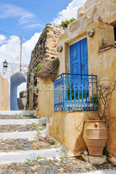 Greek Village House with Blue Door, Pyrgos wall mural