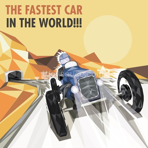 Vintage Racing Car Poster wall mural