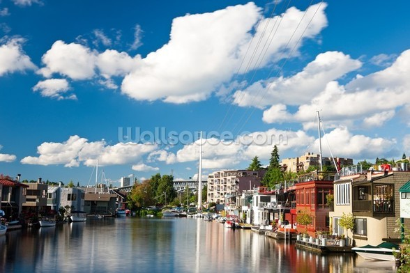Lake Union Houseboats, Seattle wallpaper mural