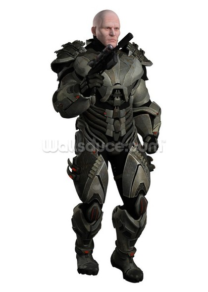 Soldier in futuristic body armour wall mural