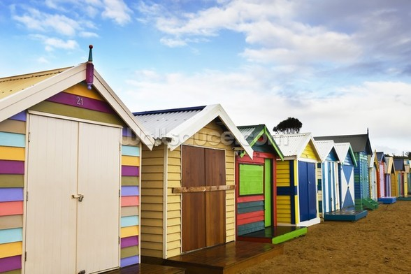 Brighton Bathing Boxes mural wallpaper