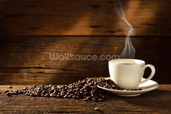 Coffee Cup and Coffee Beans wallpaper mural