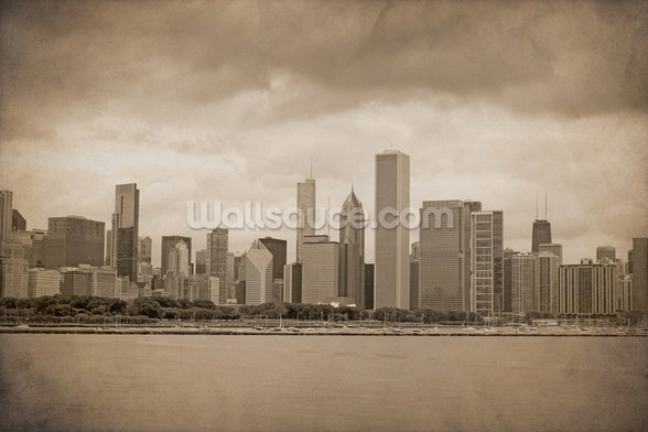 Vintage Chicago Sepia mural wallpaper