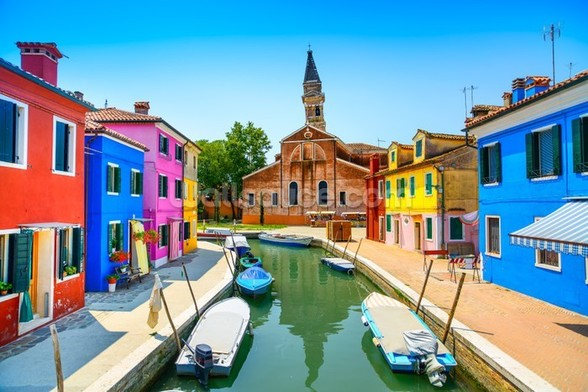 Burano Canal, Houses, Church and Boats wall mural