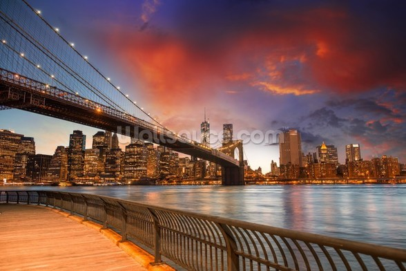 Brooklyn Bridge Park, Sunset mural wallpaper