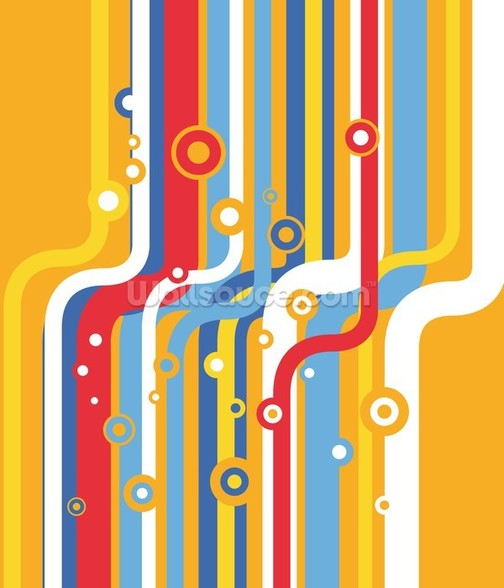 Retro Colourful Lines wallpaper mural