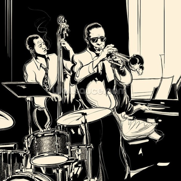 Jazz Black & White wall mural