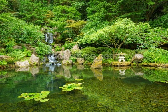 Beautiful Japanese Garden mural wallpaper