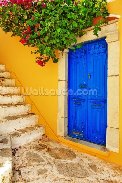 Colourful Doorway, Symi, Greece mural wallpaper