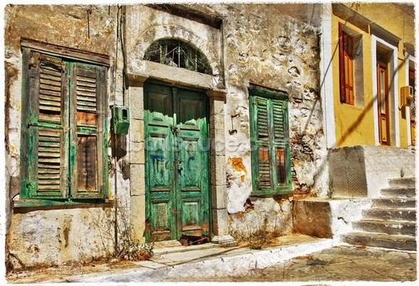 Charming old streets of Greek islands mural wallpaper