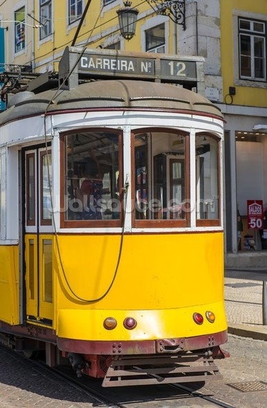 Tram in Lisbon, Portugal mural wallpaper