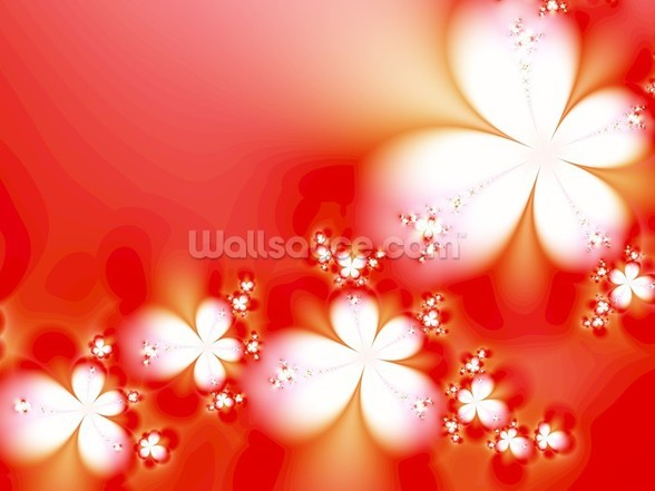 Abstract Flowers on Red wallpaper mural