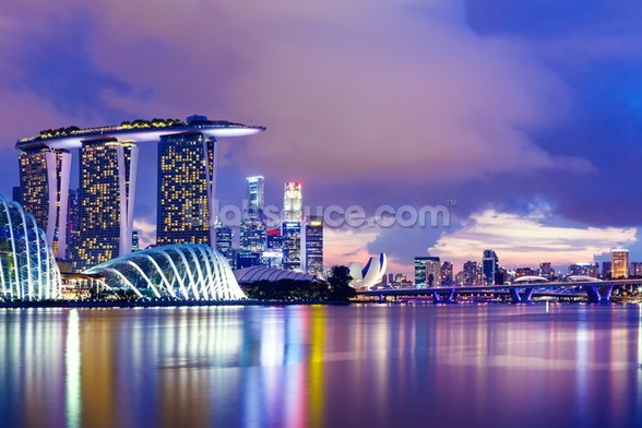 Singapore Skyline at Night wall mural