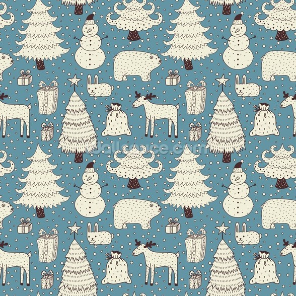 All About Christmas mural wallpaper