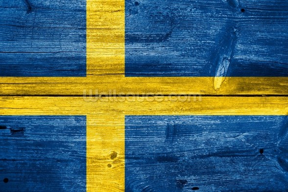 Vintage Swedish Flag on Wood wall mural