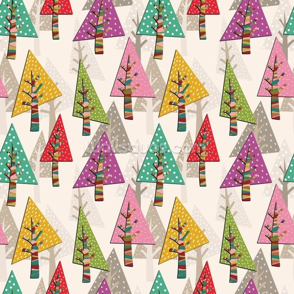 Colourful Christmas Trees wall mural