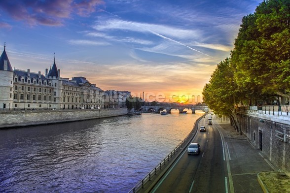 Seine Sunset wall mural
