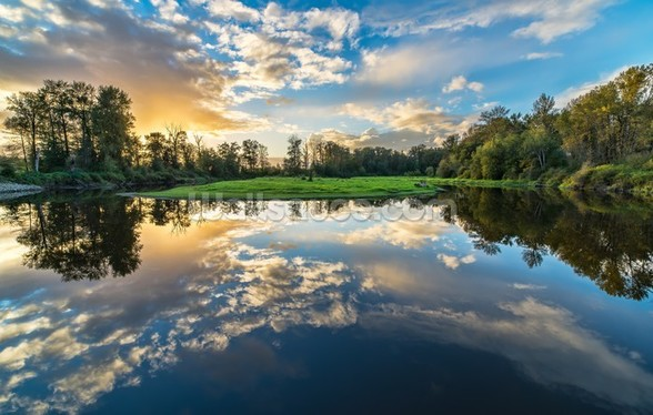 Wide Angle River Clouds Reflection wall mural
