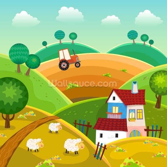 Farm and Tractor wall mural