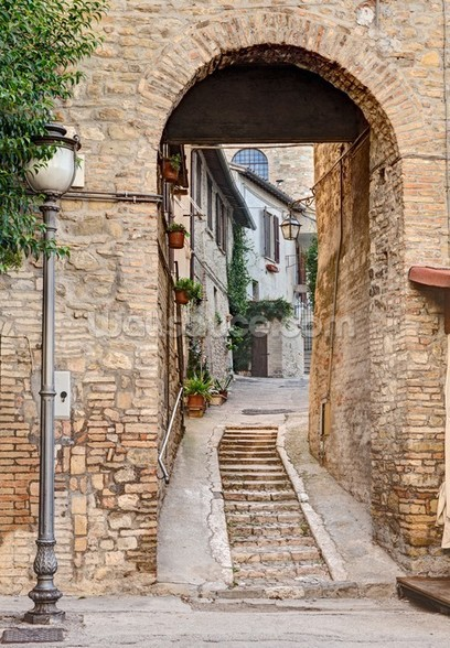 Ancient Alley in Bevagna, Italy mural wallpaper