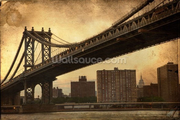 Brooklyn Bridge Sepia wallpaper mural
