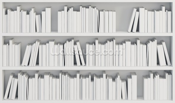 Bookcase with White Books wall mural