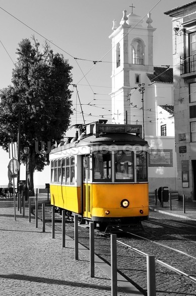 Yellow Tram in Lisbon wallpaper mural