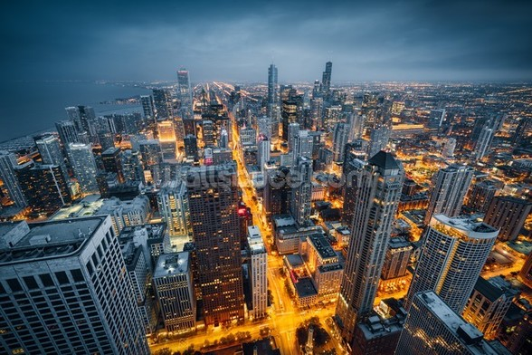Chicago Skyline Dusk wall mural