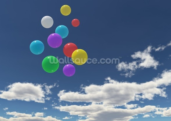 Balloons in the Sky wall mural