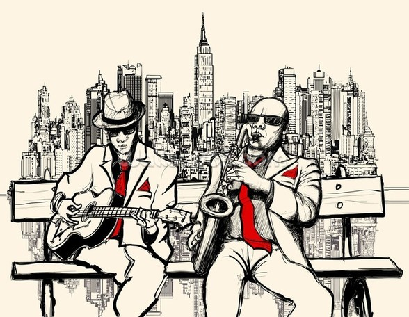 New York Jazz mural wallpaper