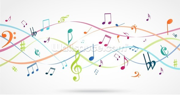 Colorful Music Notes wallpaper mural