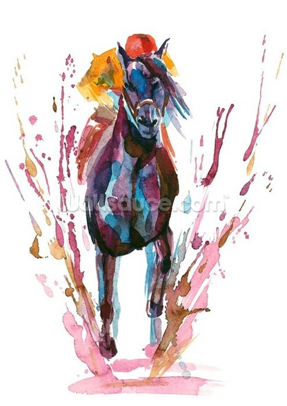 Racehorse and Rider mural wallpaper