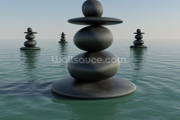 Zen Pebble Stacks wallpaper mural