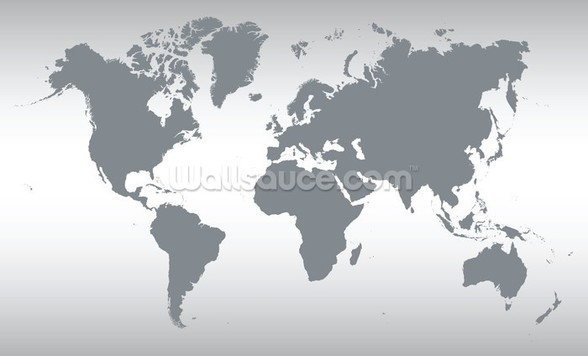 Grey Map of the World wall mural