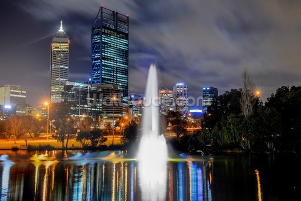 Perth City at Night wallpaper mural