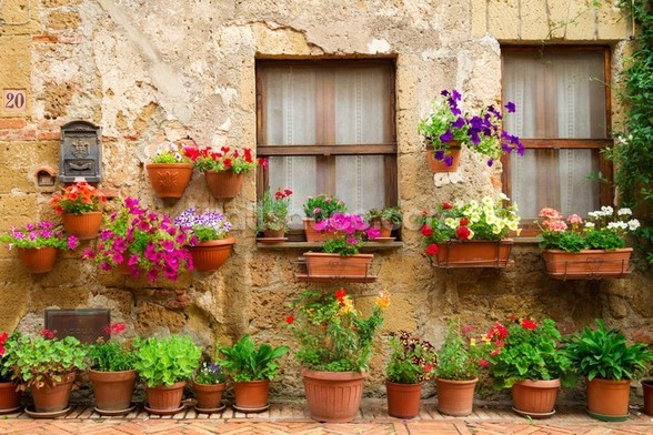 Stone Facade and Flowers, Italy wall mural