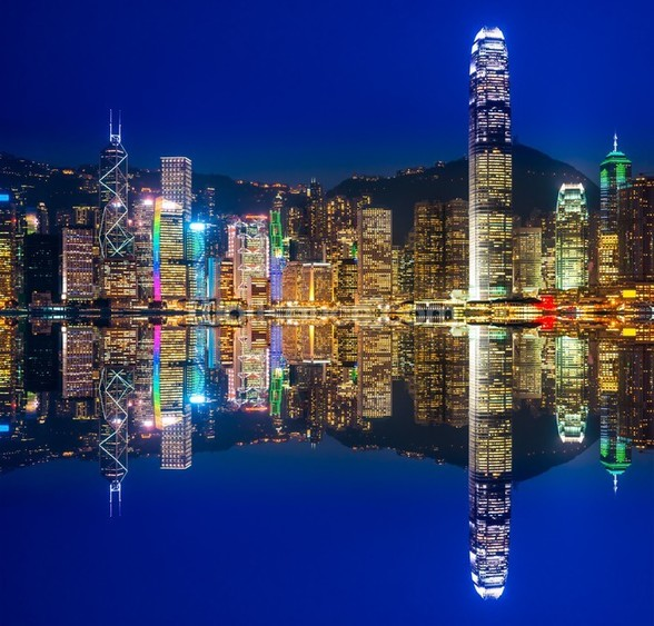 Hong Kong Lights at Night mural wallpaper