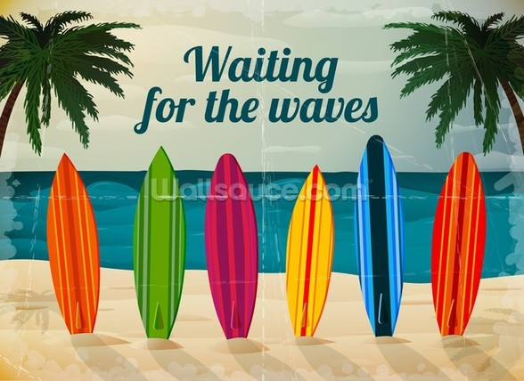 Waiting for the waves wall mural