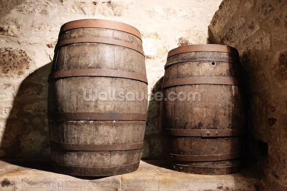 Wood Barrel wall mural