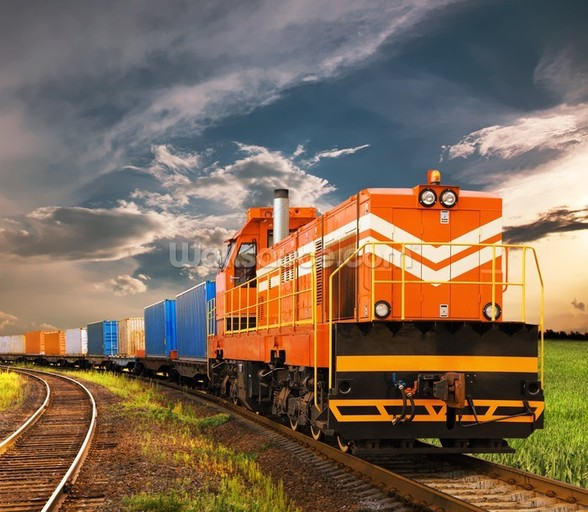 Orange Freight Train mural wallpaper