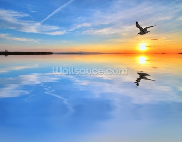 Blue Lake Reflections wallpaper mural