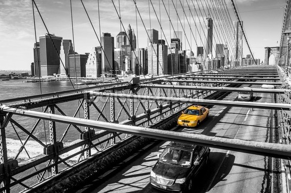 Taxi on Brooklyn Bridge wall mural