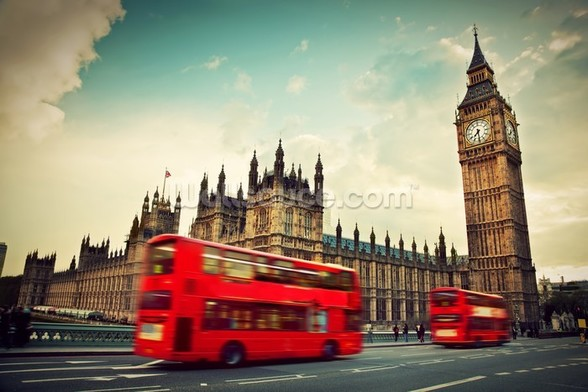 London Bus at Big Ben wallpaper mural