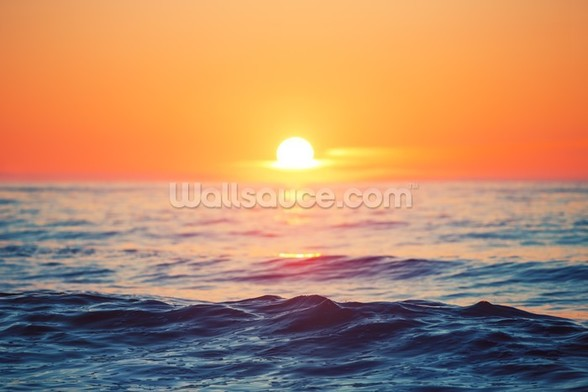 Orange Sunrise at Sea wall mural