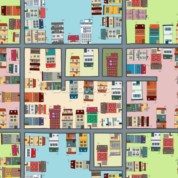 Cartoon Street Map mural wallpaper