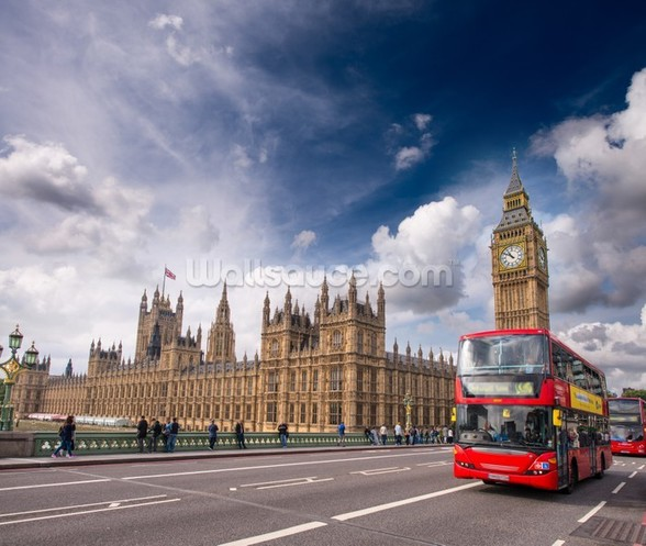 Double Decker Bus on Westminster Bridge wall mural