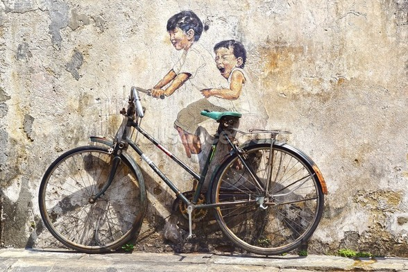 Little Children on a Bicycle mural wallpaper