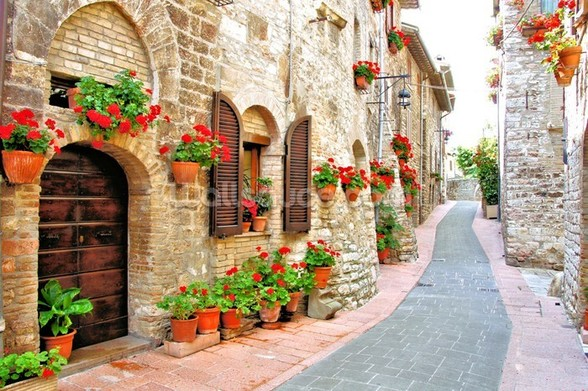 Tuscan Hill Town wall mural