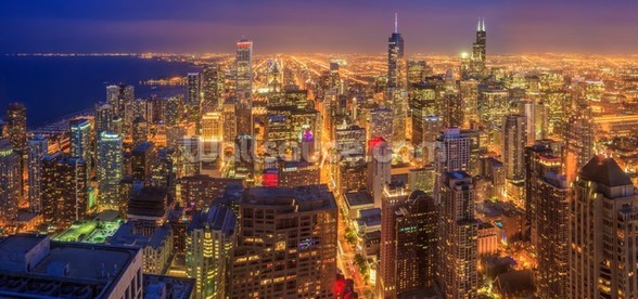 Chicago Skyline at Night wall mural